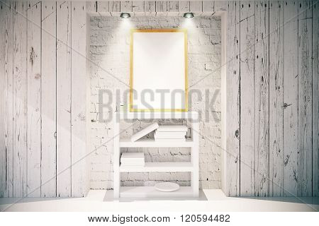 Picture Frame And Bookshelf In Light Wooden Interior
