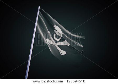 Pirate Flag On Black Background