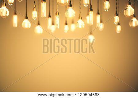 Idea Concept Bulbs Orange Background