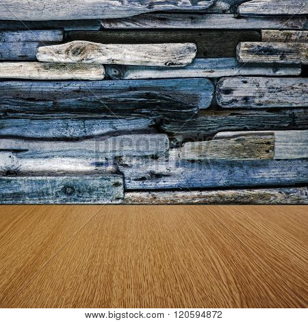 Blue driftwood and natural pine imaginative background texture, with business product / sales items / text space for your design.