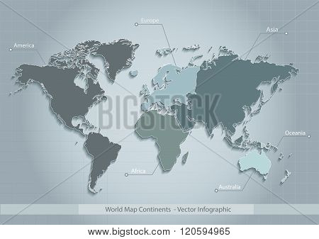 world map continents blue vector - Individual separate continents - Europe, Asia, Africa, America, A