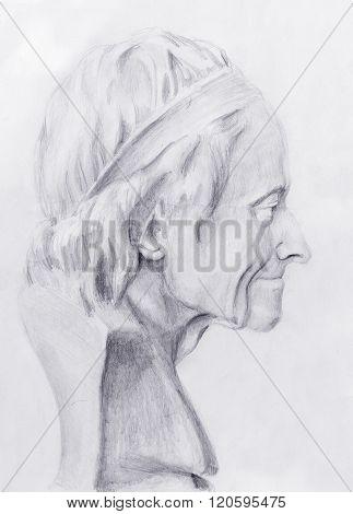 Hand drawn head, Illustration half face. Gypsum bust drawn in pencil. Profile portrait.