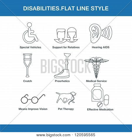 Disabilities Flat Line Style