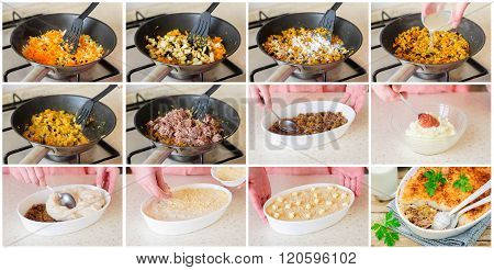 A Step By Step Collage Of Making Hachis Parmentier