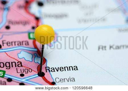 Ravenna pinned on a map of Italy