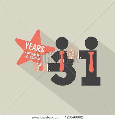 31St Years Anniversary Typography Design.