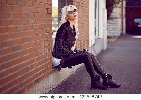 Cute Girl In Posing Outdoors