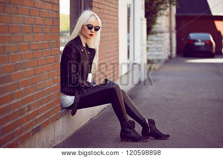 Pretty Young Girl In Posing Outdoors