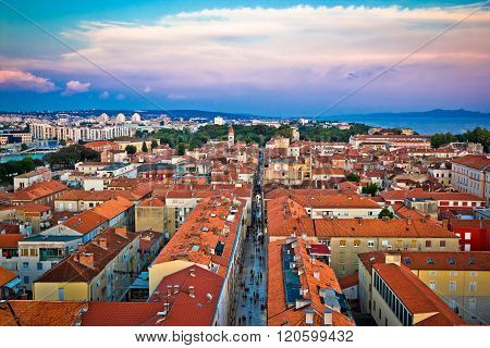 Zadar Rooftops In Old Town Aerial