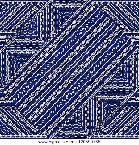 Indigo Ethnic Geometric Seamless Pattern