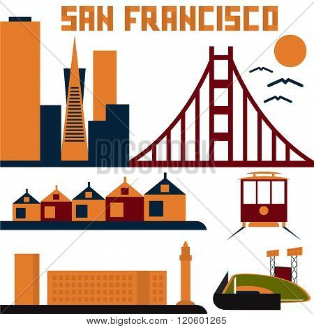 Landmarks Of San Francisco Flat Design . Concept Of Graphic Clipart Work