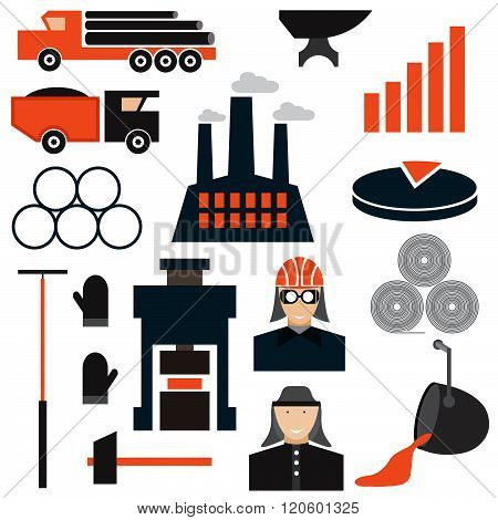 Flat Design Icons Of Metallurgy Industry . Concept Of Graphic Clipart Work