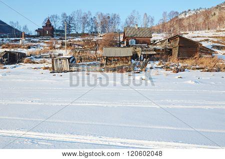 Old Angasolka village on the shore of Lake Baikal. Circum-Baikal Railway