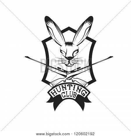 Hunting Club Crest With Carbines And Hare