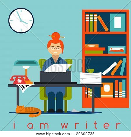Freelancer Writer Girl Flat Design Concept . Concept Of Graphic Clipart Work