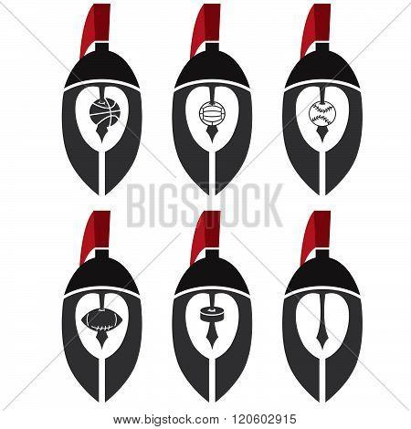 Spartan Warrior Helmets As Emblem Of Sports Teams