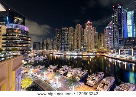 DUBAI, UNITED ARAB EMIRATES - JANUARY 19, 2016: Dubai marina skyline in the United Arab Emirates