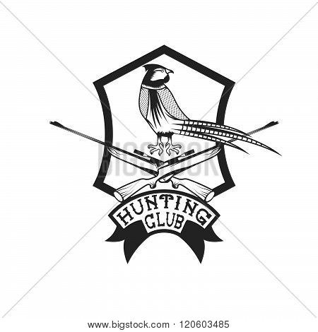Hunting Club Crest With Carbines And Pheasant