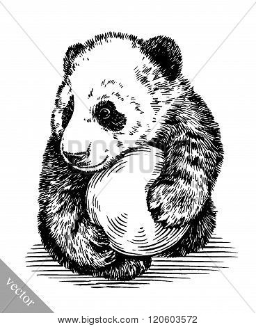 engrave ink draw panda illustration