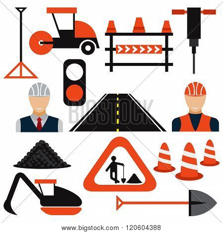 Men At Work,road Works Flat Design Icons