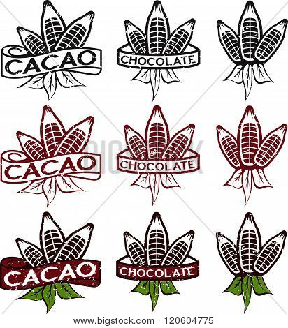 Cacao Beans With Leaves Grunge Labels Set