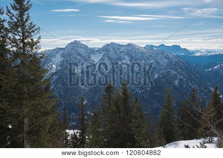 Pamorama View Of The Austrian Alps In Winter