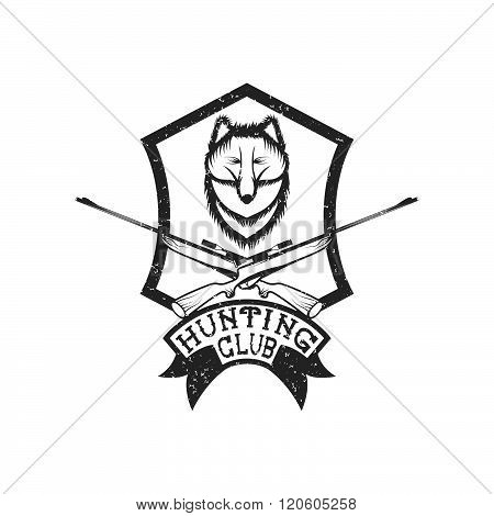 grunge hunting club crest with carbines and fox