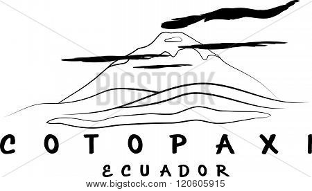 Vector Abstract Illustration Of Volcano Cotopaxi In Ecuador