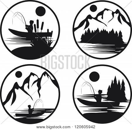 Set Of Vintage Vector Labels With Fishing Theme