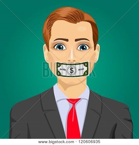 handsome young corrupt man wuth hundred dollar bill taped to mouth