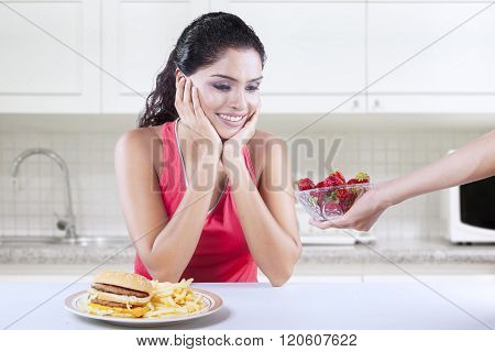 Woman Wants Strawberry Rather Than Burger