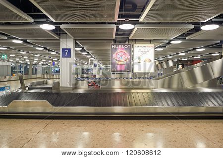 GENEVA, SWITZERLAND - NOVEMBER 18, 2015: Baggage claim area in Geneva Airport. Geneva International Airport is the international airport of Geneva,