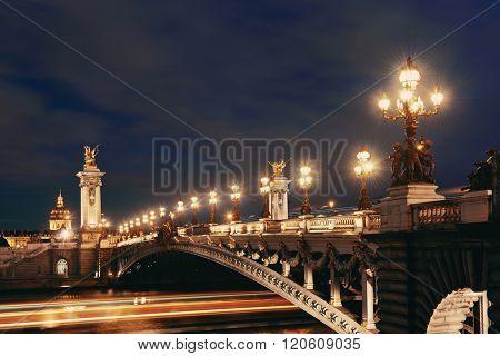 Paris River Seine and Alexandre III Bridge in evening