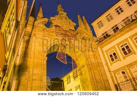 Arch of the New Gate in Braga in Portugal during Christmas