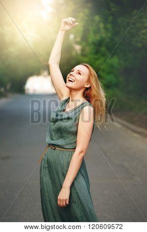 Freedom Happy Laughing Woman Enjoying
