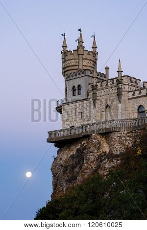 Swallow's Nest At Sunset In The Moonlight