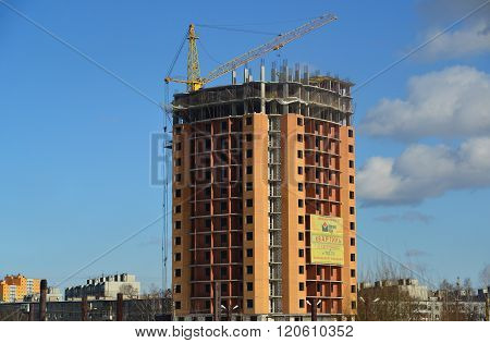 Tver, Russia - February 27. 2016. New multi-storey building under a construction