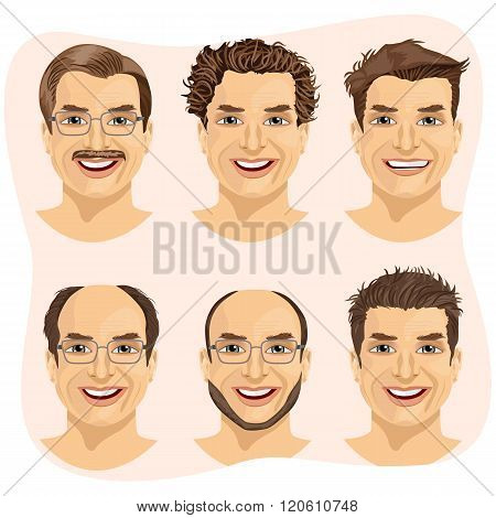 isolated set of mature man avatar with different hairstyles