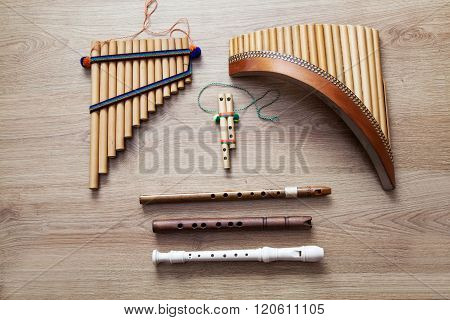 Set Of Wooden Flutes