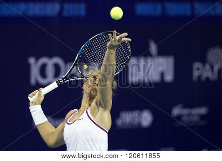 Hua Hin, Thailand -Jan 1, 2016: Sara Errani of Italy in action during a match of WORLD TENNIS THAILAND CHAMPIONSHIP 2016 at True Arena Hua Hin on January1 2016 in Hua Hin Thailand.