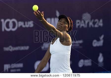 Hua Hin, Thailand -Jan 1, 2016: World No.7 Tennis player Venus Williams of USA in action during a match of WORLD TENNIS THAILAND CHAMPIONSHIP 2016 at True Arena Hua Hin on January1 2016 in Hua Hin Thailand.