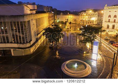 PORTO, NORTE, PORTUGAL - DECEMBER 8, 2015:  Square with Sao Joao National Theatre in Porto in Portugal