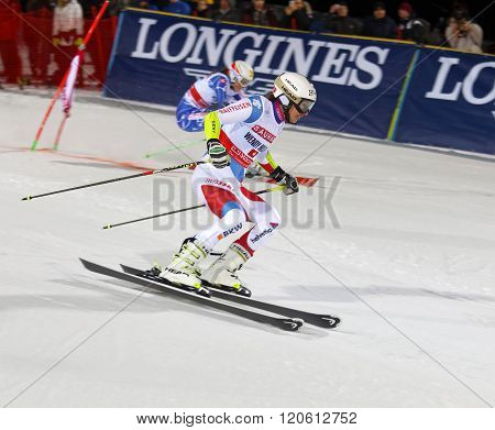 STOCKHOLM SWEDEN - FEB 23 2016: Wendy Holdener (SUI) and competitir skiing at the FIS Alpine Ski World Cup - city event February 23 2016 Stockholm Sweden