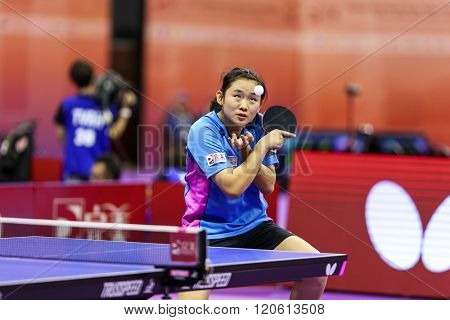 KUALA LUMPUR, MALAYSIA - MARCH 01, 2016: Alice Chang of Malaysia plays return shot in her match in the Perfect 2016 World Team Table-tennis Championships held in Kuala Lumpur, Malaysia.