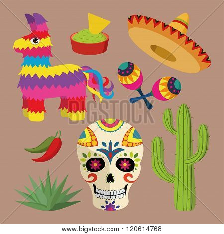 Mexico bright icon set with national mexican objects: sombrero, skull, agave, cactus, pinata etc.