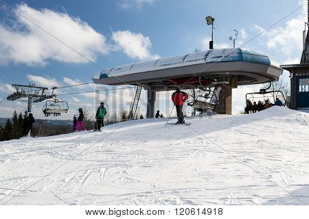 Modern Chairlift At Ski Resort Isaberg In Sweden