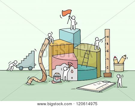 Sketch of diagram construction with working little people ruler flag. Doodle cute miniature of building diagram and preparing for the big profit. Hand drawn cartoon vector illustration for business design and infographic.
