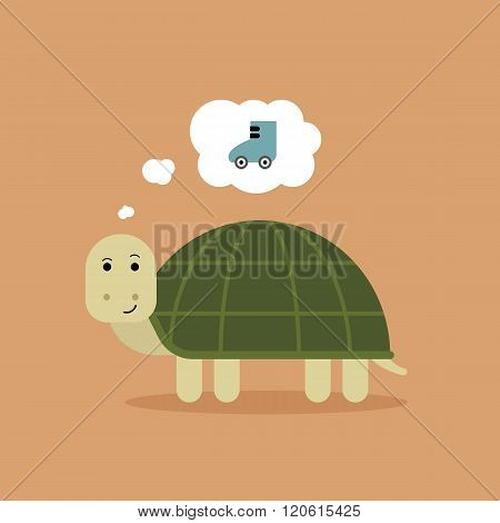 Turtle dreaming of rollerskate to move faster