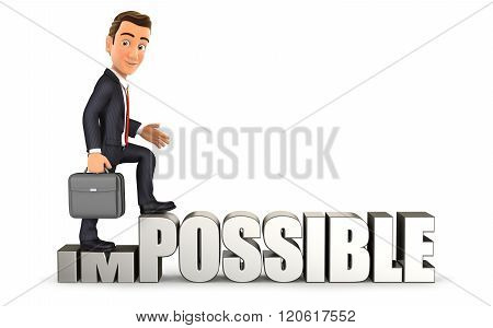 3d businessman turning impossible into possible