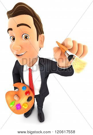 3d businessman with color palette and paint brush
